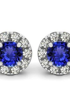 925 Sterling Silver Earring Genuine Natural Tanzanite 6mm Round Cut with White Topaz Round Gemstone – Tanznaite Eariiing