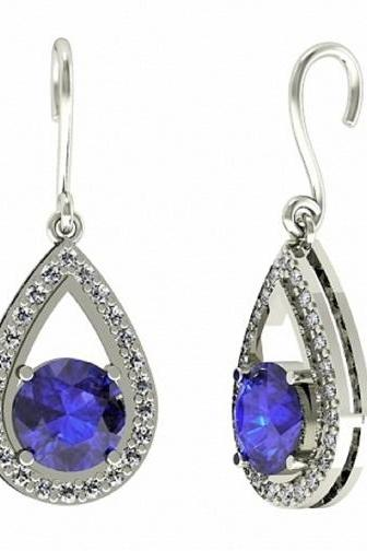 Sterling Silver Earring Genuine Natural Tanzanite 6mm Round Cut with White Topaz Round Gemstone – Tanznaite Eariiing