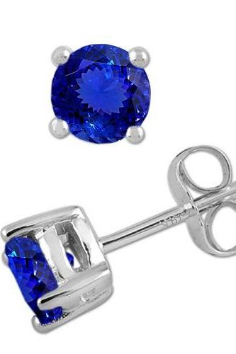 925 Sterling Silver Stud Earring Genuine Natural Tanzanite 6mm Round Cut AAA Color Tanznaite Gemstone Eariiing