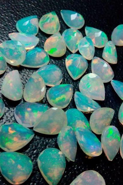 Natural Ethiopian Opal Faceted Cut 3x5mm Pear 10 Pieces Lot Multi Fire Opal Loose Gemstone Wholesale Lot