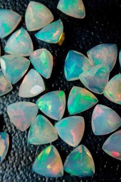 Natural Ethiopian Opal Faceted Cut 7mm Trillion 50 Pieces Lot Multi Fire Opal Loose Gemstone Wholesale Lot