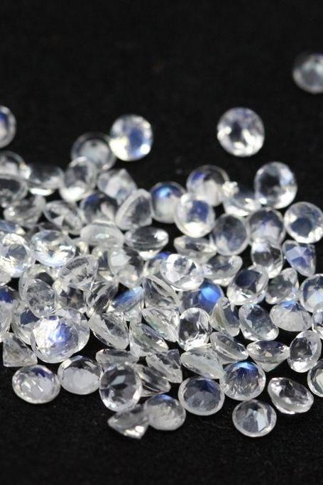 Natural Rainbow Moonstone 5mm 50 Pieces Lot Faceted Cut Round Top Quality Blue Power - Loose Gemstone