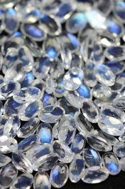 Natural Rainbow Moonstone 6x4mm 10 Pieces Lot Faceted Cut Oval Top Quality Blue Power - Loose Gemstone