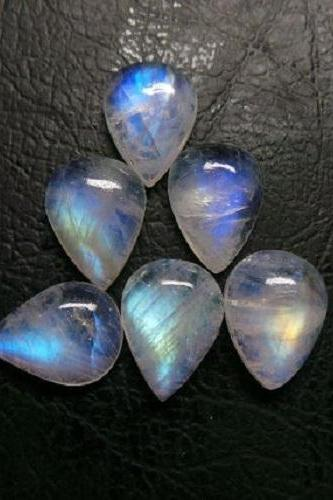 Natural Rainbow Moonstone 7x5mm 2 Pieces Cabochon Pear Top Quality Blue Power - Loose Gemstone