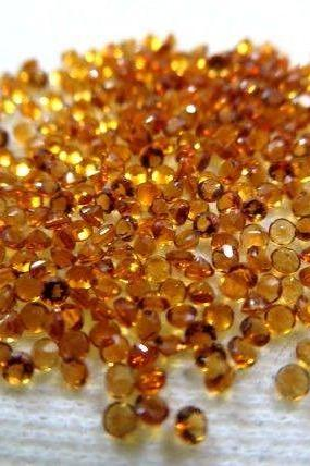 Natural Citrine - 2 mm 50 Pieces Lot Calibrated Size Faceted Cut Round Yellow Color - Natural Loose Gemstone