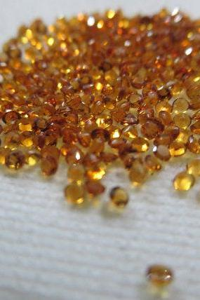 Natural Citrine - 2 mm 200 Pieces Lot Calibrated Size Faceted Cut Round Yellow Color - Natural Loose Gemstone