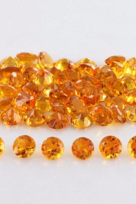 Natural Citrine - 4mm 25 Pieces Lot Calibrated Size Faceted Cut Round Yellow Color - Natural Loose Gemstone
