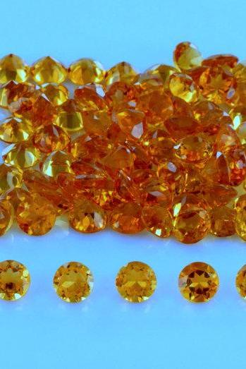 Natural Citrine - 5mm 50 Pieces Lot Calibrated Size Faceted Cut Round Yellow Color - Natural Loose Gemstone