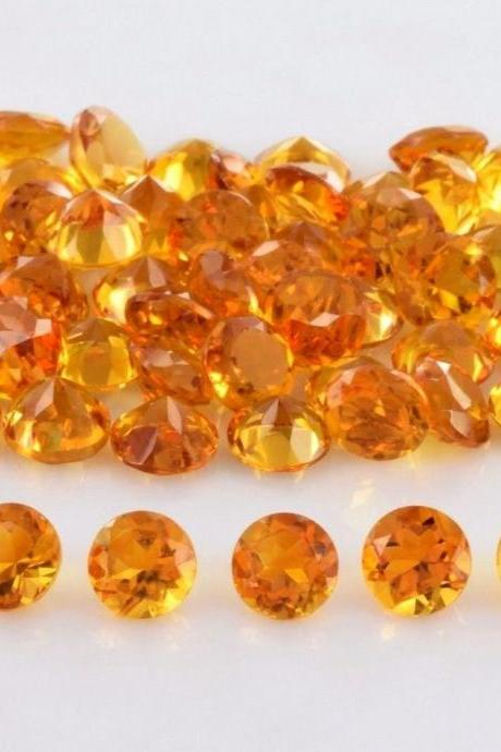 Natural Citrine - 5mm 100 Pieces Lot Calibrated Size Faceted Cut Round Yellow Color - Natural Loose Gemstone