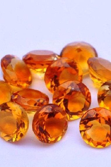 Natural Citrine - 7mm 25 Pieces Lot Calibrated Size Faceted Cut Round Yellow Color - Natural Loose Gemstone