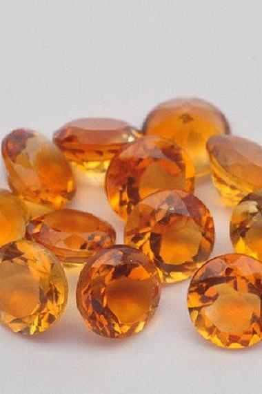 Natural Citrine - 10mm 5 Pieces Lot Calibrated Size Faceted Cut Round Yellow Color - Natural Loose Gemstone