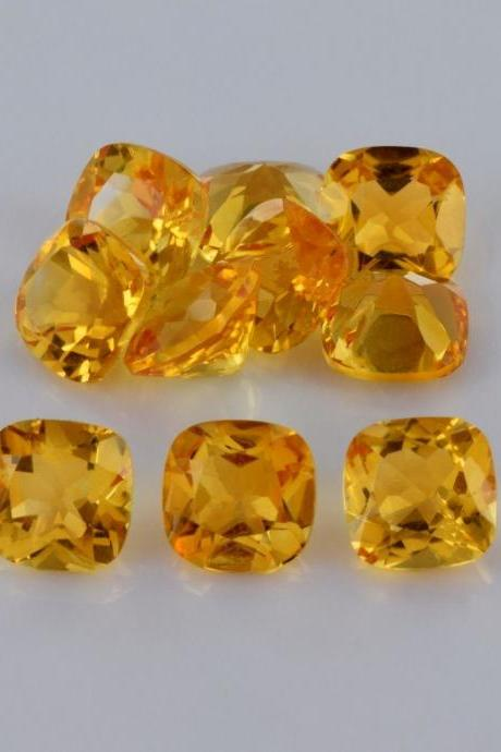 Natural Citrine - 5mm 5 Pieces Lot Calibrated Size Faceted Cut Cushion Yellow Color - Natural Loose Gemstone