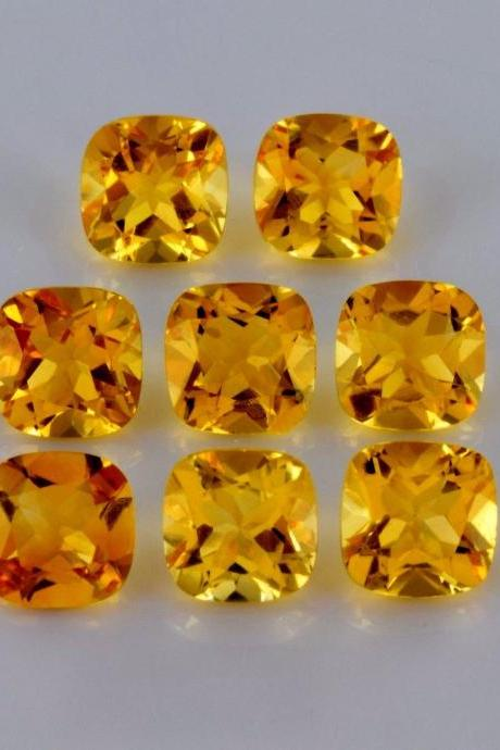 Natural Citrine - 7mm 5 Pieces Lot Calibrated Size Faceted Cut Cushion Yellow Color - Natural Loose Gemstone