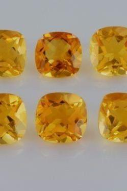 Natural Citrine - 7mm 10 Pieces Lot Calibrated Size Faceted Cut Cushion Yellow Color - Natural Loose Gemstone