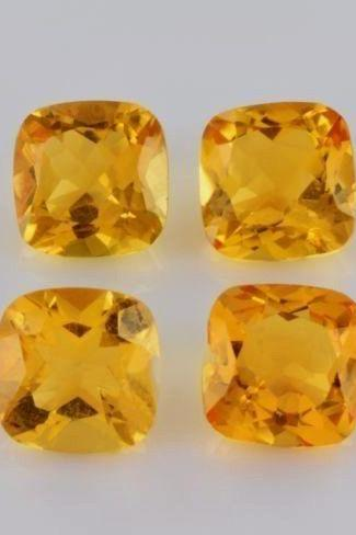 Natural Citrine - 8mm 25 Pieces Lot Calibrated Size Faceted Cut Cushion Yellow Color - Natural Loose Gemstone