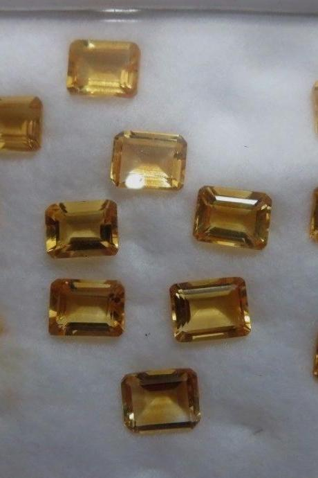 Natural Citrine - 6x4mm 5 Pieces Lot Calibrated Size Faceted Cut Octagon Yellow Color - Natural Loose Gemstone