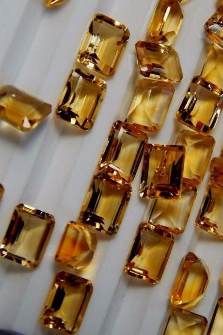 Natural Citrine - 8x6mm 5 Pieces Lot Calibrated Size Faceted Cut Octagon Yellow Color - Natural Loose Gemstone