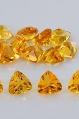 Natural Citrine - 5mm 10 Pieces Lot Calibrated Size Faceted Cut Trillion Yellow Color - Natural Loose Gemstone