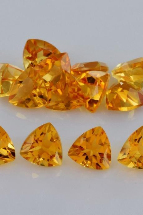 Natural Citrine - 5mm 25 Pieces Lot Calibrated Size Faceted Cut Trillion Yellow Color - Natural Loose Gemstone