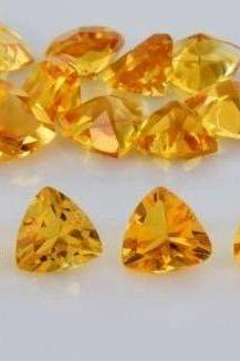 Natural Citrine - 6mm 10 Pieces Lot Calibrated Size Faceted Cut Trillion Yellow Color - Natural Loose Gemstone
