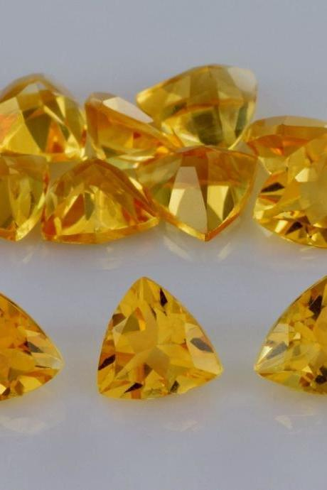 Natural Citrine - 6mm 100 Pieces Lot Calibrated Size Faceted Cut Trillion Yellow Color - Natural Loose Gemstone