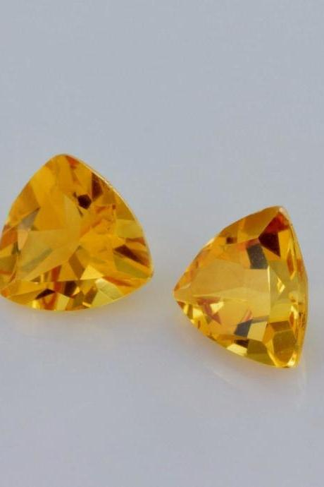 Natural Citrine - 7mm 5 Pieces Lot Calibrated Size Faceted Cut Trillion Yellow Color - Natural Loose Gemstone