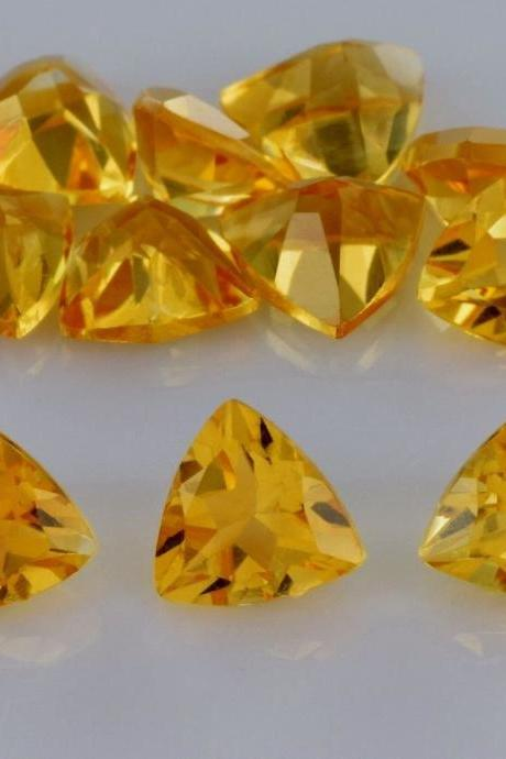 Natural Citrine - 7mm 10 Pieces Lot Calibrated Size Faceted Cut Trillion Yellow Color - Natural Loose Gemstone