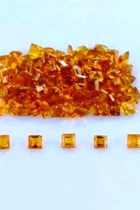 Natural Citrine - 4mm 10 Pieces Lot Calibrated Size Faceted Cut Square Yellow Color - Natural Loose Gemstone