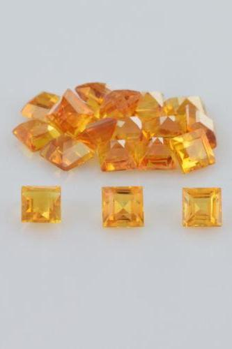 Natural Citrine - 5mm 5 Pieces Lot Calibrated Size Faceted Cut Square Yellow Color - Natural Loose Gemstone