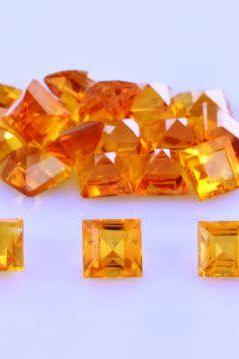 Natural Citrine - 6mm 10 Pieces Lot Calibrated Size Faceted Cut Square Yellow Color - Natural Loose Gemstone