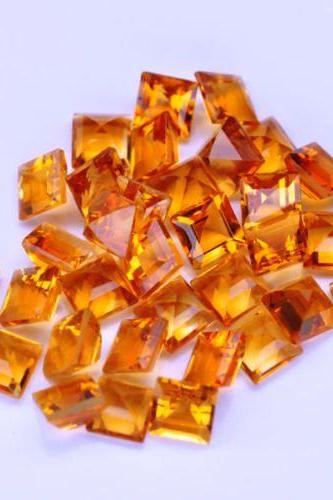 Natural Citrine - 7mm 100 Pieces Lot Calibrated Size Faceted Cut Square Yellow Color - Natural Loose Gemstone