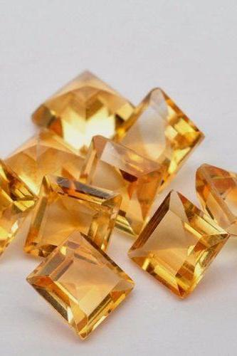 Natural Citrine - 8mm 5 Pieces Lot Calibrated Size Faceted Cut Square Yellow Color - Natural Loose Gemstone