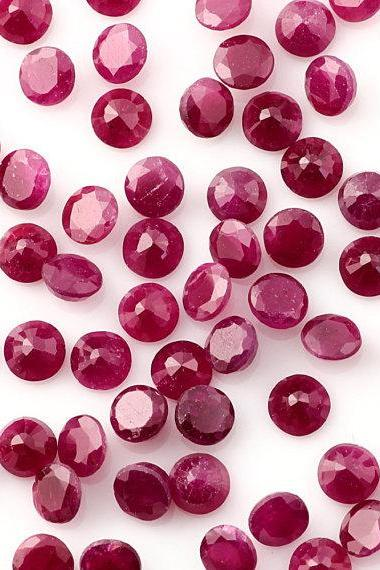 Natural Ruby 4mm 50 Pieces Lot Faceted Cut Round Red Pink Color Top Quality Loose Gemstone