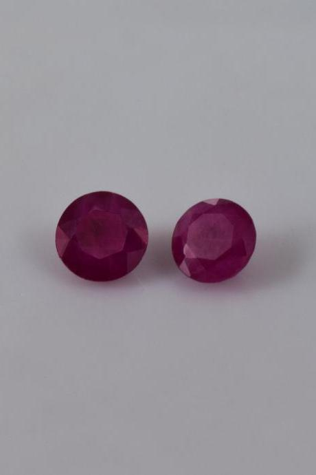 Natural Ruby 7mm 2 Pieces Faceted Cut Round Red Pink Color Top Quality Loose Gemstone