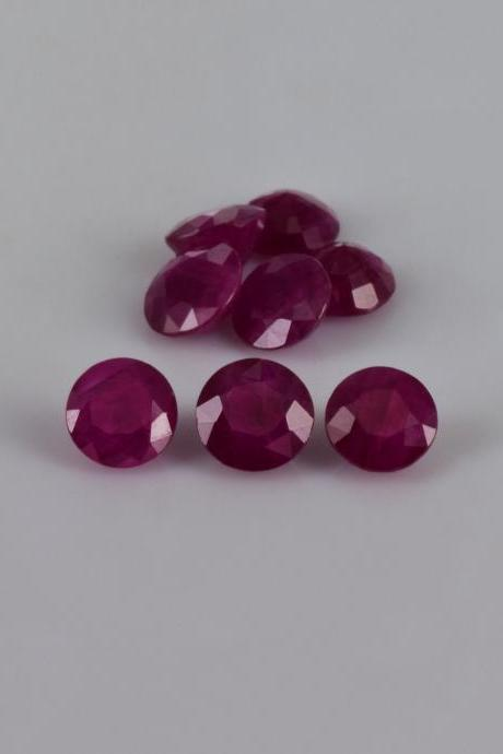 Natural Ruby 8mm 25 Pieces Lot Faceted Cut Round Red Pink Color Top Quality Loose Gemstone