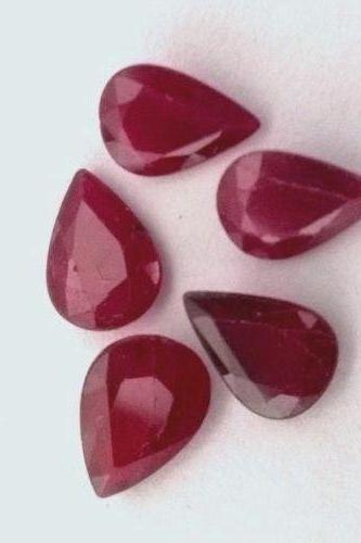 Natural Ruby 7x10mm 25 Pieces Lot Faceted Cut Pear Red Pink Color Top Quality Loose Gemstone