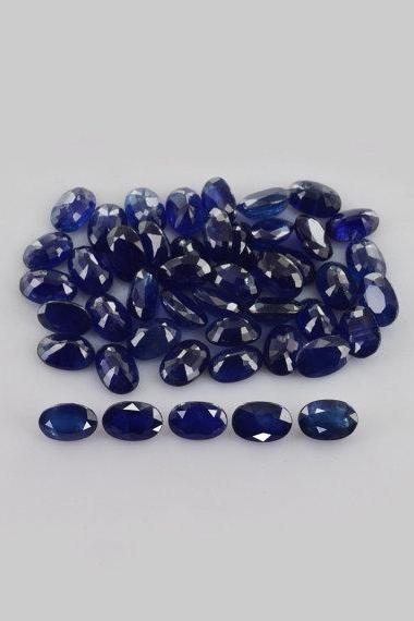 Natural Blue Sapphire 5x3mm 100 Pieces Lot Faceted Cut Oval Blue Color Top Quality Loose Gemstone