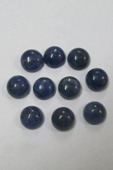 Natural Blue Sapphire 7mm 5 Pieces Lot Cabochon Round Blue Color Top Quality Loose Gemstone