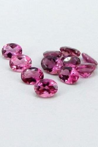 Natural Pink Tourmaline 6x4mm 10 Pieces Lot Faceted Cut Oval Pink Color Top Quality Loose Gemstone