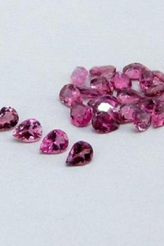 Natural Pink Tourmaline 4x3mm 50 Pieces Lot Faceted Cut Pear Pink Color Top Quality Loose Gemstone
