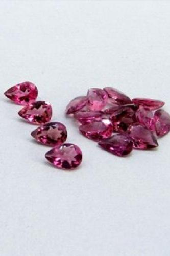 Natural Pink Tourmaline 5x4mm 25 Pieces Lot Faceted Cut Pear Pink Color Top Quality Loose Gemstone