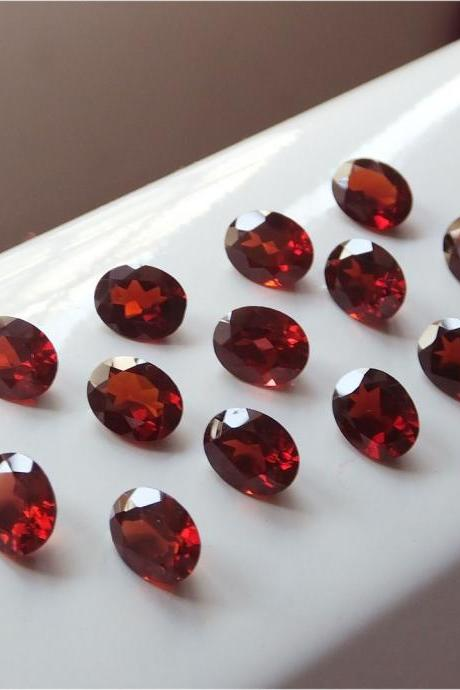 Natural Red Garnet 7x5mm 25 Pieces Lot Faceted Cut Oval Red Color Top Quality Loose Gemstone