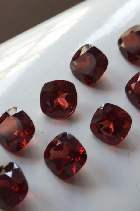 Natural Red Garnet 7mm 5 Pieces Lot Faceted Cut Cushion Red Color Top Quality Loose Gemstone