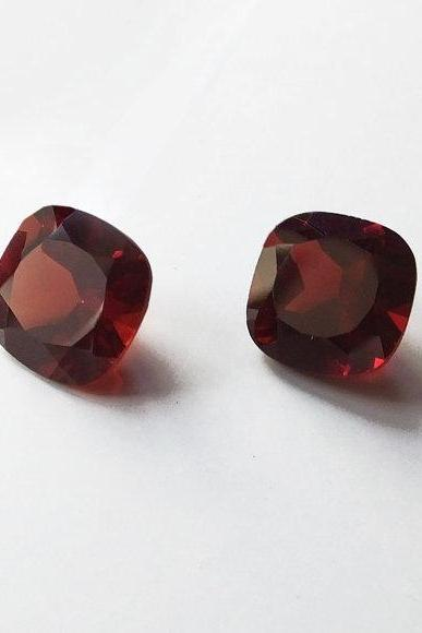 Natural Red Garnet 8mm 2 Pieces Faceted Cut Cushion Red Color Top Quality Loose Gemstone