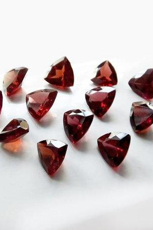 Natural Red Garnet 4mm 5 Pieces Lot Faceted Cut Trillion Red Color Top Quality Loose Gemstone