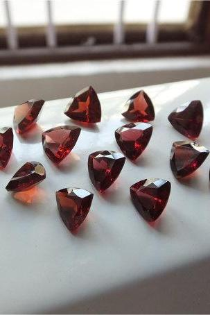 Natural Red Garnet 8mm 2 Pieces Faceted Cut Trillion Red Color Top Quality Loose Gemstone