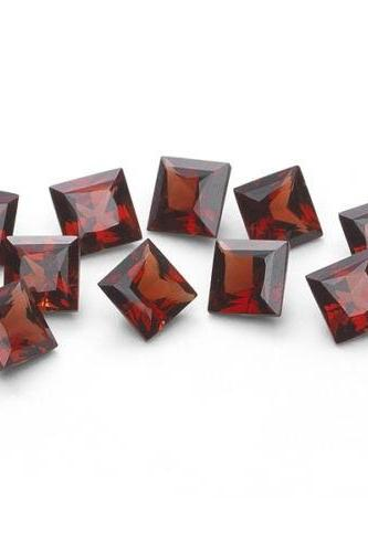 Natural Red Garnet 7mm 2 Pieces Faceted Cut Square Red Color Top Quality Loose Gemstone
