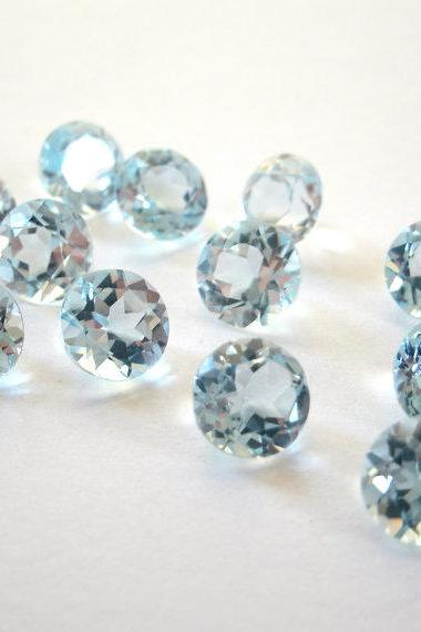 Natural Sky Blue Topaz 6mm 5 Pieces Lot Faceted Cut Round Blue Color - Natural Loose Gemstone