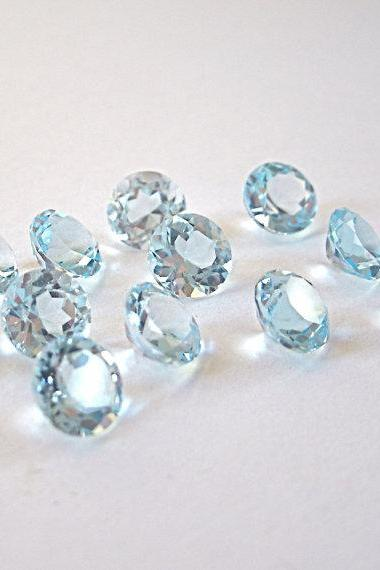 Natural Sky Blue Topaz 7mm 2 Pieces Lot Faceted Cut Round Blue Color - Natural Loose Gemstone