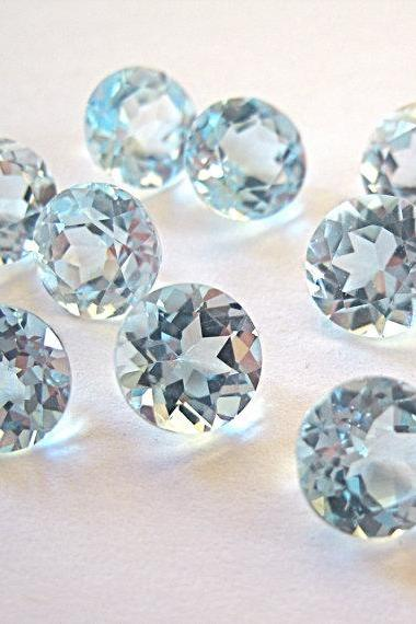 Natural Sky Blue Topaz 8mm 10 Pieces Lot Faceted Cut Round Blue Color - Natural Loose Gemstone